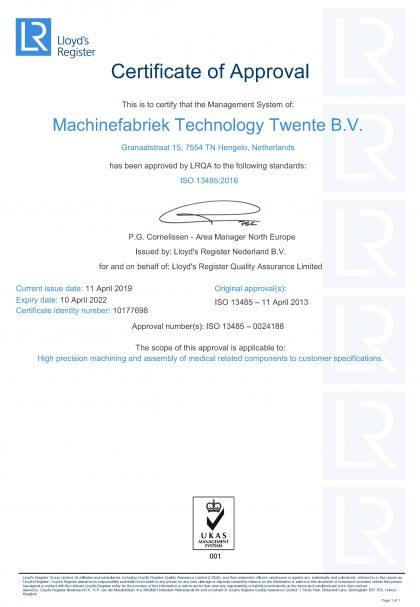 Certificaat TT ISO13485-2016